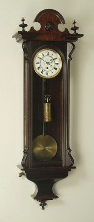 Picture of finishe clock with new bottom finail.  The buyer chose to leave the bob and weight with the patina that was there when I bought the clock.  This makes the clock look much more original and untouched.