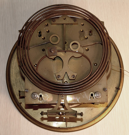 Back of as-found mechanism, showing rusty condition of gongs