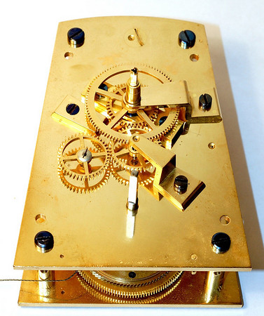 Front of mechanism showing gear layout - note the going train is not driven off of the minute arbor.