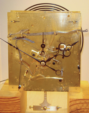 Front of the mechanism showing the exquisite hands