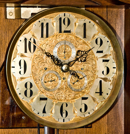 The dial, with the subsidiary dials for the seconds, day of the month, and day of the week, is in near perfect, original condition.  It is rare that a dial doesn't need to have any of the silver plating replaced, but this one was just too perfect, as can be seen in this photo.  And, not surprisinig, the gold plate was also in perfect condition.  And what an extensive use of the pierced and engraved mask around the hour chapter ring numbers!  The gold plated trim around the numbers is not painted onto the dial, it is a separate piece of metal that has been engraved, and pierced (cut out) to leave only the very fine framework that you can see around the number.  Truly and exceptional dial!