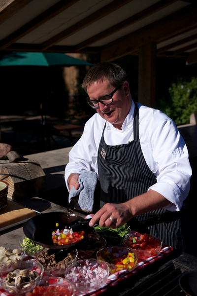 Chef Cholly cooking breakfast at Vista Verde Ranch in northwestern Colorado.