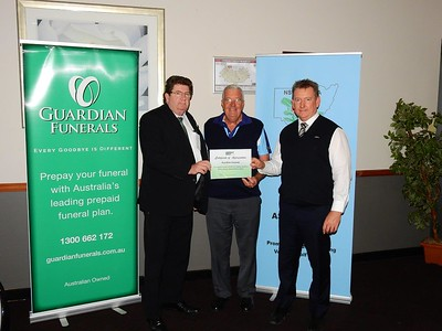 Guardian Funeral representatives Guy Eagleton and Michael Bridges receive a Certificate of Appreciation from WSRVGA President Les Knox at the Inter-Club event at Penrith GC on 25th May. Australian Senior Golfer 28th May, 2018