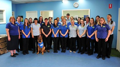 Staff at Greencross Veterinary Surgery in old uniforms Nepean News 2nd August, 2018