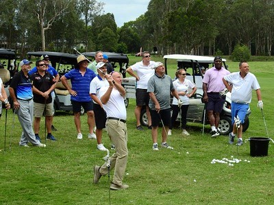 All for Archer Charity Day organiser Brett Islaub tries his luck ate the NTP challenge Nepean News 12th February, 2021