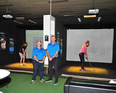 Natasha Hemms and Westley Rudel can provide lessons on the Big Swing Golf simulators at Drummond Golf, Penrith Nepean News 19th February, 2021