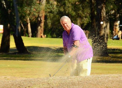 John Edwards (Glenmore Heritage Valley GC) in action during the WSRVGA Inter-Club event at Leonay GC on 24th July. Australian Senior Golfer 31st July, 2018