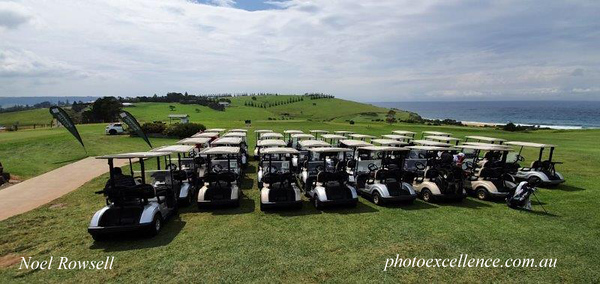 The carts are ready for action at Gerringong GC in the Volkswagen Scramble in March, 2021 Australian Senior Golfer March, 2021