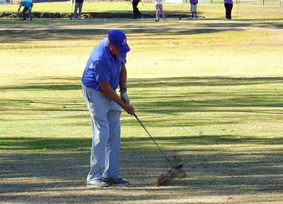 Brett Bellis (Stonecutters Ridge GC) in action during the WSRVGA Inter-Club event at Leonay GC on 24th July, 2018 Western News 3rd August, 2018