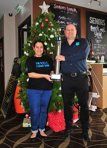 Bec & Trent (Pioneer Tavern, Penrith) with the U.G.L.Y. Trophy Nepean News 6th December, 2018