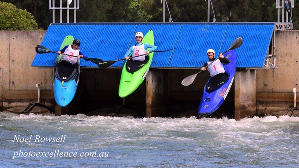 Richard Fox, Ewan Mackie and Ben Pope launch in the Final of the Extreme Slalom event, during Series 1 of the  Penrith Open Canoe Slalom Nepean News 5th March, 2021