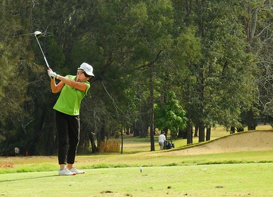 Jane Mackie (Richmond GC) in action at the WSRVGA Inter-Club event at Penrith GC Australian Senior Golfer 28th May, 2018