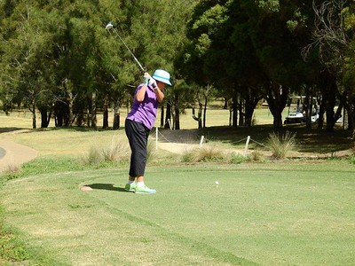 Barbara Strathdee (Glenmore Heritage Valley GC) in action at Penrith GC in the first round of the 2019 WSRVGA Inter-Club Competition. Australian Senior Golfer 21st February, 2019