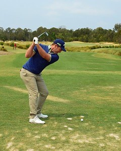 2019 NSW Golf Open champion Josh Younger in action off the tee Nepean News 26th March, 2021