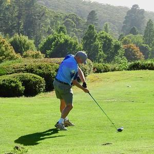A male golfer in action at Blackheath GC during the 2018 Blue Mountains VGA Week of Golf Australian Senior Golfer 14th February, 2019