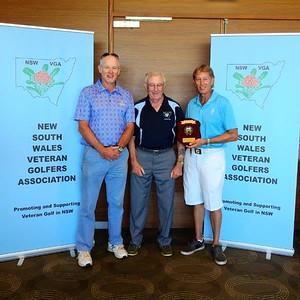 2018 NSWVGA Stroke-Play Championships Nett winner Robert Lewis (Windsor GC), NSWVGA Secretary Len Payne, Scratch winner Ricky Allison (Lakeside Golf Course, Camden). Inside Golf Magazine January edition, 2019