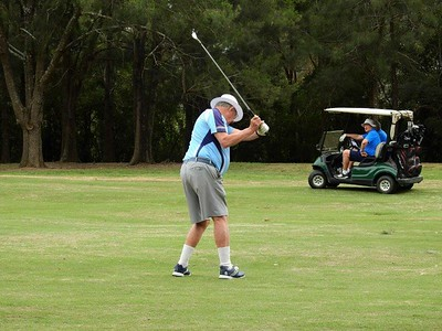 Hans Schneider (Leonay GC) in action during the WSRVGA Inter-Club at Dunheved GC on 1/10/19. Australian Senior Golfer 8th October, 2019