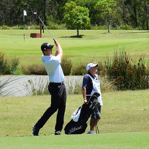 Troy Moses in action at Twin Creeks Golf & CC during the 2018 NSW Golf Open Nepean News 26th March, 2021
