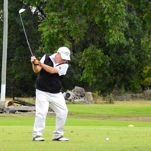 Trevor Forwood (Springwood CC) in action during the WSRVGA Inter-Club event at Dunheved Golf Course. Blue Mountains Gazette on-line edition 27th June, 2018