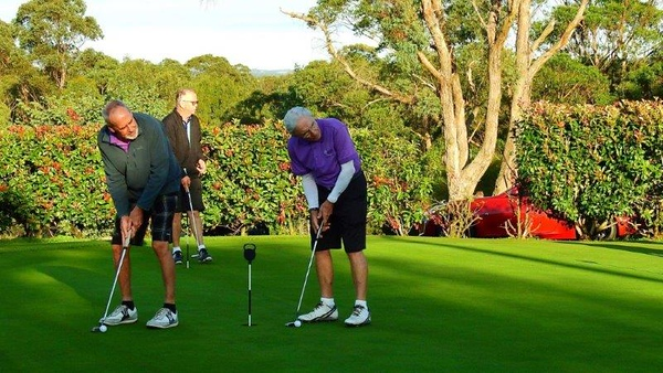 David Bailey and John Ross from Glenmore Heritage Valley GC on the practice green, prior to tee-off in the WSRVGA Inter-Club event at Springwood Country Club Australian Senior Golfer 24th April, 2018