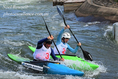 Richard Fox and Ewan Mackie chasing 2nd place in the Final of the Extreme Slalom event, during Series 1 of the  Penrith Open Canoe Slalom Nepean News 5th March, 2021