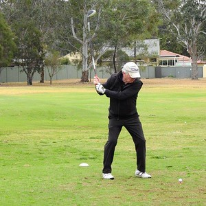 Mick Crock (Leonay) in action at the WSRVGA Inter-Club event at Wallacia GC on August 31. Australian Senior Golfer 4th September, 2018