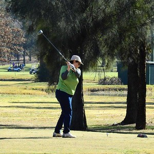 Carolyn Lozier (Richmond GC) in action at the 2019 WSRVGA Inter-Club at Richmond GC in July. Australian Senior Golfer 26th July, 2019