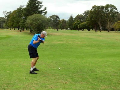 Phil Tuncheon (Penrith GC) in action during the WSRVGA Inter-Club at Dunheved GC on 1/10/19. Australian Senior Golfer 8th October, 2019