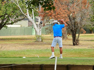 Steve Pegler (Stonecutters) in action at the WSRVGA Inter-Club event at Penrith GC Australian Senior Golfer 28th May, 2018