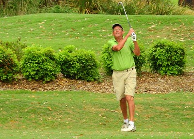 Dennis Jacobsen (Richmond GC) in action during the WSRVGA Inter-Club event at Glenmore Heritage Valley GC in November. Hawkesbury Gazette 14th November, 2018