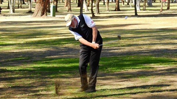Rick Paynter (Springwood CC) in action during the WSRVGA Inter-Club event at Leonay GC Blue Mountains Gazette (on-line edition) 30th July, 2018 Blue Mountains Gazette Print Edition 8th August, 2018