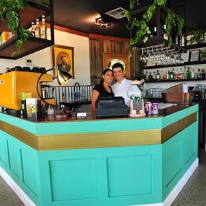 Proprietors Siobhan & Fanio Cuttonaro at the bar in Tins & Wood Restaurant, Cnr Tindale & Woodriffe Streets, Penrith Nepean News 20th February, 2020