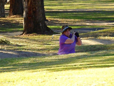 Julie Edwards (Glenmore Heritage Valley GC) in action during the WSRVGA Inter-Club event at Leonay GC on 24th July. Australian Senior Golfer 31st July, 2018