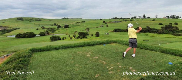 Peter Bradley (Fox Hills GC) in action at Gerringong GC in the Volkswagen Scramble in March, 2021 Australian Senior Golfer March, 2021