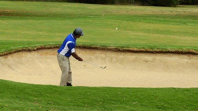 Annamalai Goundan (Dunheved GC) plays from a greenside bunker during the WSRVGA Inter-Club at Dunheved GC on 1/10/19 Western News 11th October, 2019