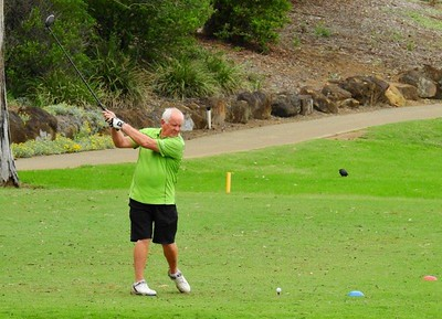 Peter Tallack (Richmond GC) in action during the WSRVGA Inter-Club event at Glenmore Heritage Valley GC in November. Hawkesbury Gazette 14th November, 2018