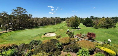 The view from the balcony at Wentworth Falls CC, showing the 18th (left) and 1st (right) fairways and 18th green. taken during the 38th Blue Mountains  Veterans Week of Golf. Australian Senior Golfer 1st March, 2021