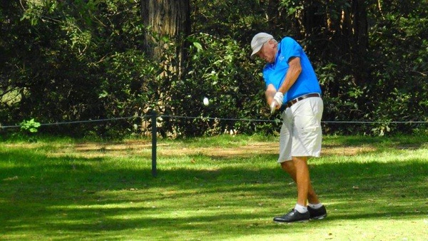 Phil Tunchon (Penrith GC) tees-off during the WSRVGA Inter-Club event at Springwood Country Club Australian Senior Golfer 24th April, 2018