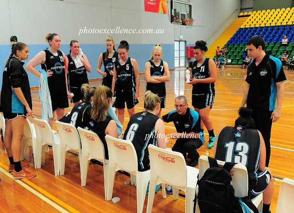 Penrith WCL Women's head coach Chris Jones addresses his team during a time-out.<br /> Nepean News<br /> 19th March, 2015
