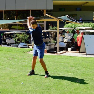 Leonay GC junior representative Coby Carruthers finished in a tie for first place in the Harvey Norman Week of Golf 13 year age group - 2nd after playoff Jordan Springs Gazette February edition, 2019