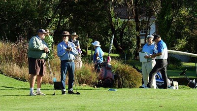 On the first tee at Wentworth Falls CC, on Day 4 of the 38th Annual Blue Mountains  Veterans Week of Golf. Australian Senior Golfer 1st March, 2021