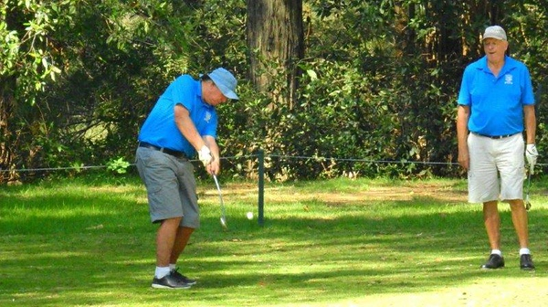Ian Forrester (Penrith GC) tees-off in the WSRVGA Inter-Club event at Springwood Country Club Australian Senior Golfer 24th April, 2018
