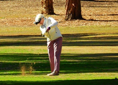 Elizabeth (Lizzy) Paynter (Springwood Country Club) in action during the WSRVGA Inter-Club event at Leonay GC on 24th July. Australian Senior Golfer 31st July, 2018