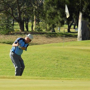Tom Davies (Leonay GC) in action during the WSRVGA Inter-Club at Richmond GC in July. Nepean News 1st August, 2019