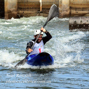 Ben Pope leads in the Final of the Extreme Slalom event, during Series 1 of the  Penrith Open Canoe Slalom Nepean News 5th March, 2021