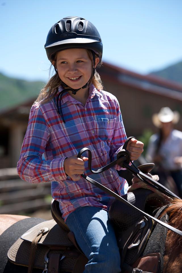 Jo Jo riding a horse at Vista Verde Ranch in northwestern Colorado.