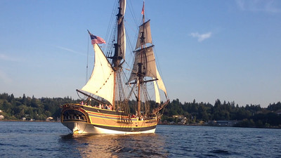 The brig Lady Washington under sail with a cannon shot from its stern swivel gun. Copyright 2014 Grays Harbor Historical Seaport Authority. All Rights Reserved. Except for brief excerpts for educational purposes or for news and information broadcasts or webcasts, this video may not be used for commercial purposes without the written consent of GHHSA.