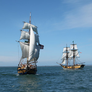 Hawaiian Chieftain (left) and Lady Washington cruising together in Grays Harbor near Westport. Photo by Ron Arel, Coastal Images.