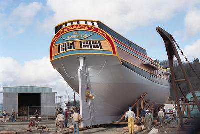 The Lady Washington in final preparations for her launch on March 7, 1989.