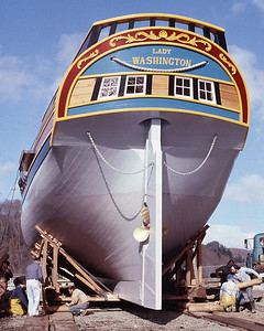 The Lady Washington in final preparations for her launch on March 7, 1989. Photo by Brandon Ford.